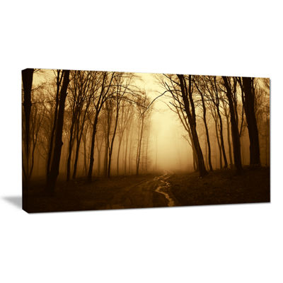 Designart Road In Forest With Fall Fog Canvas Art
