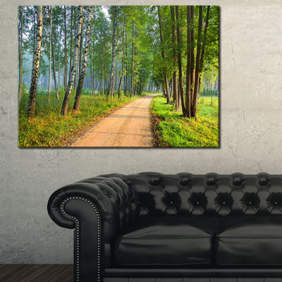 Designart Road In Green Morning Forest Canvas Art