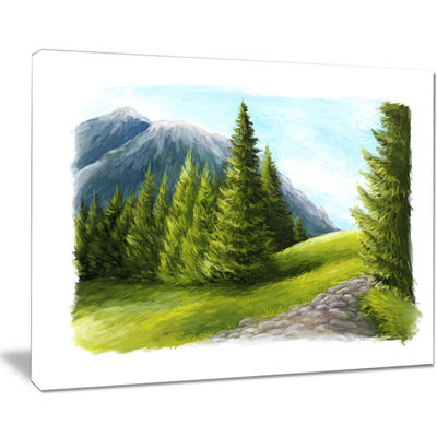 Designart Road In Green Mountains Canvas Art