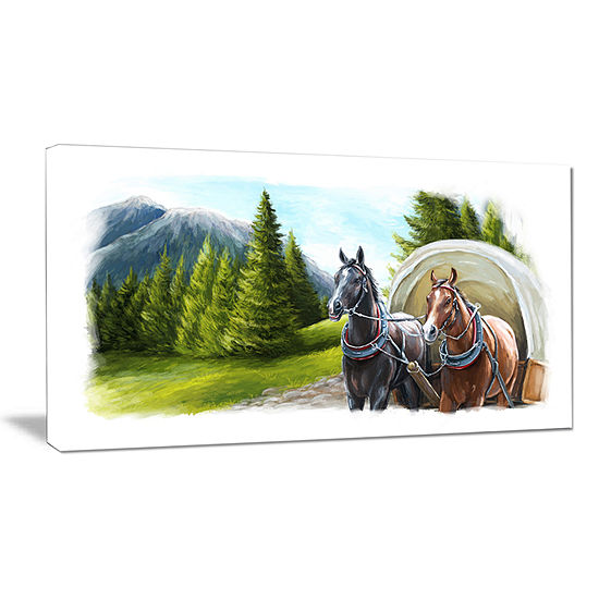 Designart Road In Mountains With Horses Canvas Art