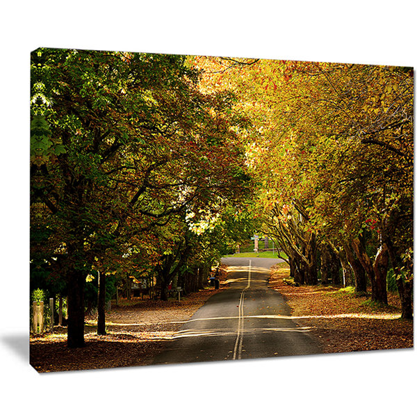 Designart Road Through Beautiful Green Trees Canvas Art