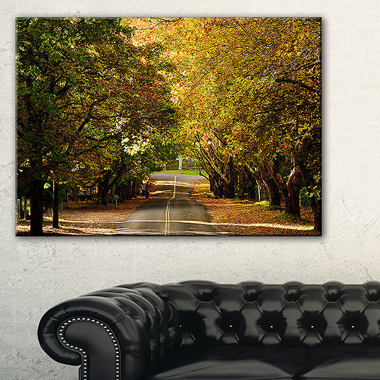 Designart Road Through Beautiful Green Trees Canvas Art
