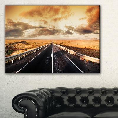 Designart Road Through Desert Panorama Canvas Art