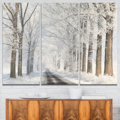 Designart Road Through Frosted Forest 3-pc. Canvas Art