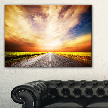 Designart Road To Yellow Sunset Sky Canvas Art