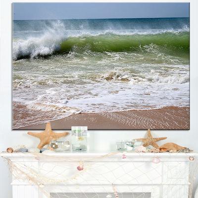 Designart Roaring Sea Waves And Blue Sky Canvas Art