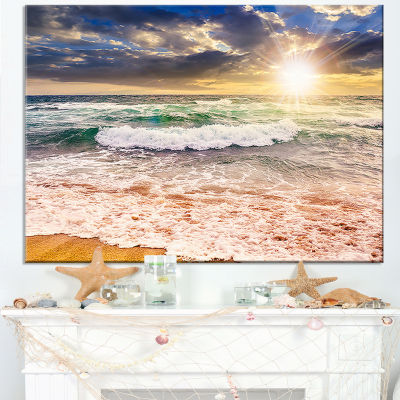 Designart Roaring Sea Waves And Bright Sun Canvas Art