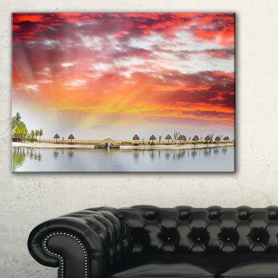Designart Roatan Beach Sunset Panorama Canvas Art