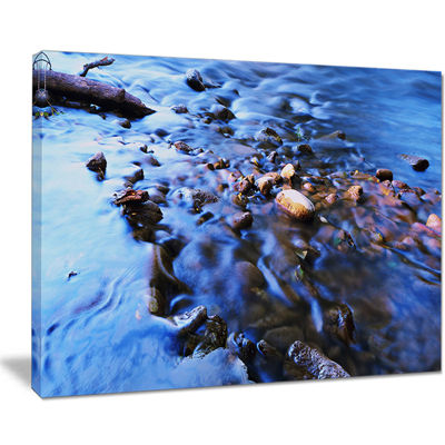 Designart Rock Blue River Panorama Canvas Art