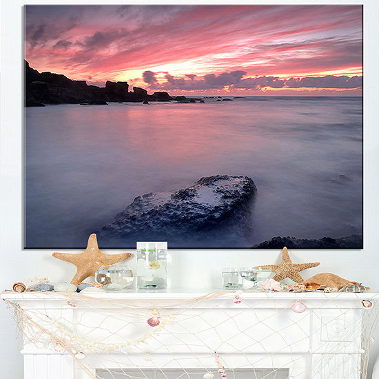 Designart Rocks Dark Samarra Seashore Sintra Canvas Art