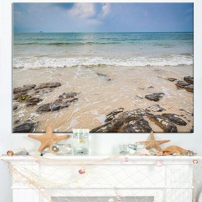 Designart Rocks On Typical Tropical Beach Canvas Art