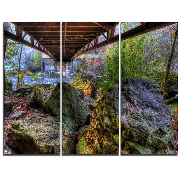 Designart Large Rocks Under Bridge In Creek 3-pc. Canvas Art
