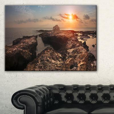 Designart Rocky African Coast Panorama Canvas Art