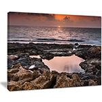 Designart Rocky African Coastline Sunset Canvas Art