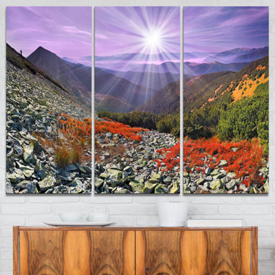 Designart Rocky And Colorful Carpathian 3-pc. Canvas Art