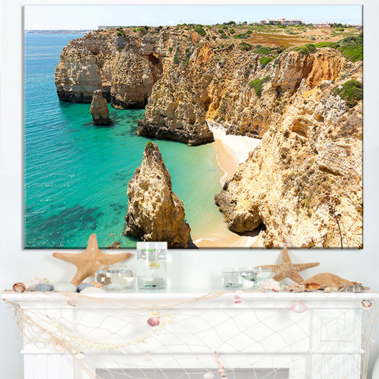 Designart Rocky And Rough Portugal Bay Canvas Art