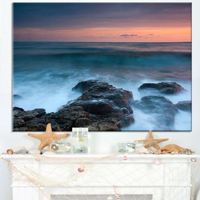Designart Rocky Beach And White Waves Canvas Art