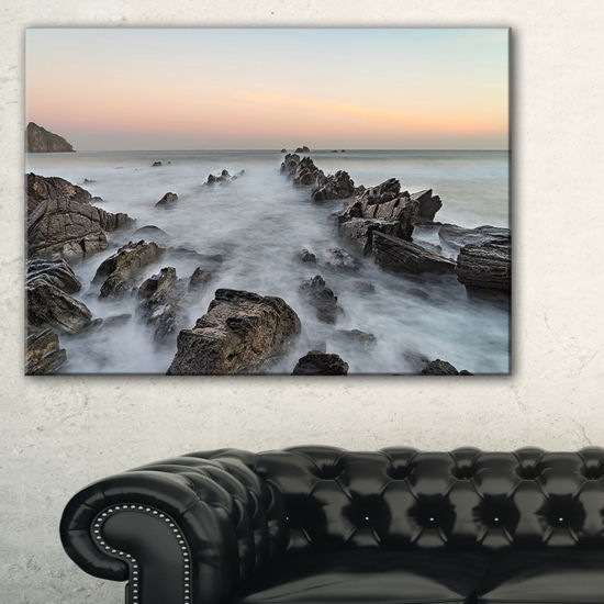Designart Rocky Beach With White Waters Canvas Art