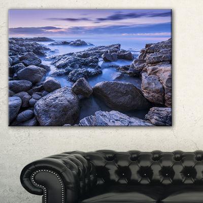 Designart Rocky Blue Seashore In Morning Canvas Art