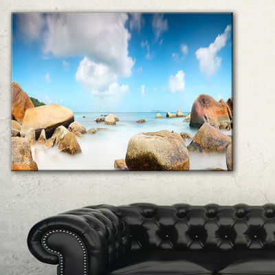 Designart Rocky Blue Seashore Panorama Canvas Art