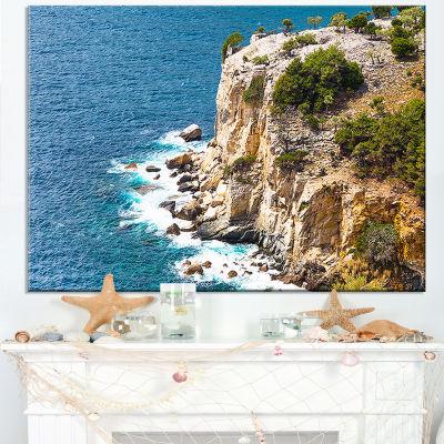 Designart Rocky Cliff Coast Thassos Greece Canvas Art