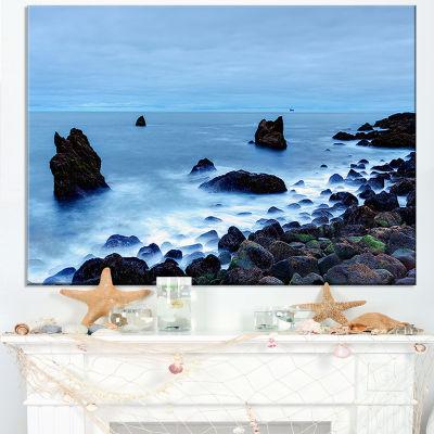 Designart Rocky Coast Near Raykjanes Blue Canvas Art