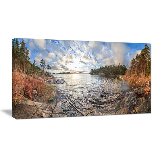 Designart Rocky Coast Of Autumn Lake Canvas Art