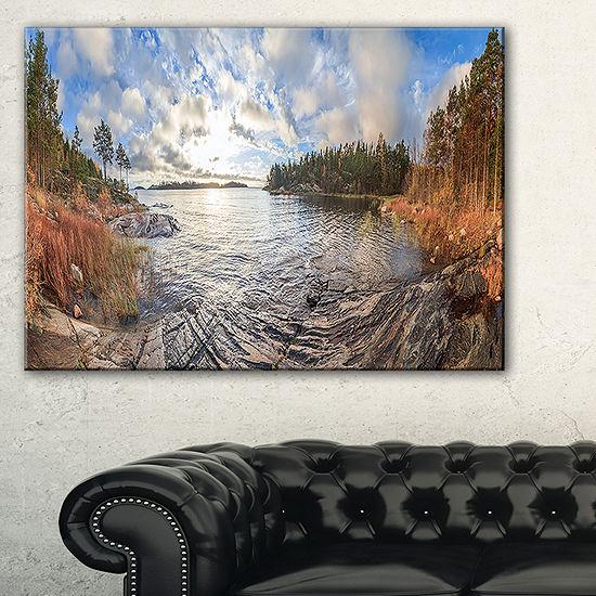 Designart Rocky Coast Of Autumn Lake Canvas Art