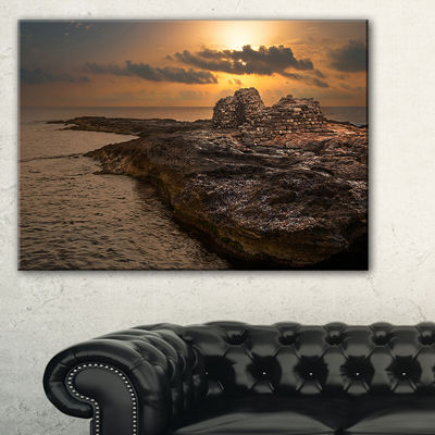 Designart Rocky Coast With Ancient Ruins Canvas Art