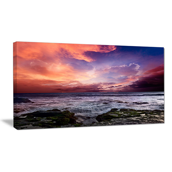 Designart Rocky Coast With Dramatic Sky Canvas Art