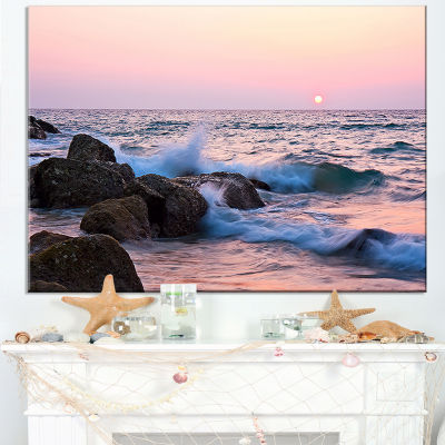 Designart Rocky Coast With Foam Waves Canvas Art