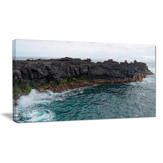 Designart Rocky Coast With Moss In Azores Canvas Art