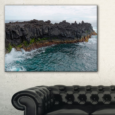 Designart Rocky Coast With Moss In Azores Canvas Art