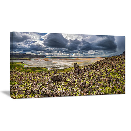 Designart Rocky Coastline Iceland Panorama Canvas Art