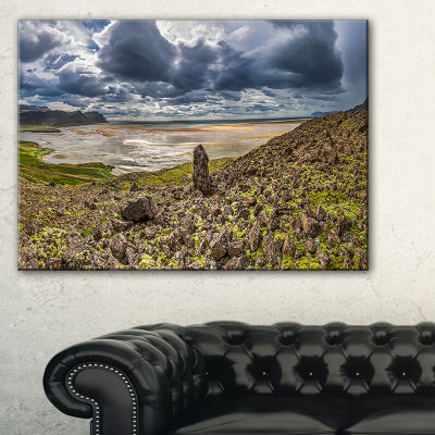 Designart Rocky Coastline Iceland Panorama Canvas Art