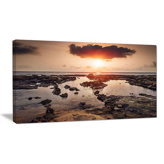 Designart Rocky Coastline Sunset Africa Canvas Art