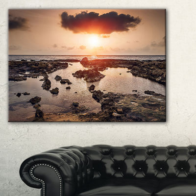Designart Rocky Coastline Sunset Africa Canvas Art