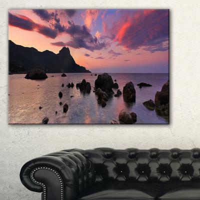 Designart Rocky Colorful Beach Panorama Canvas Art