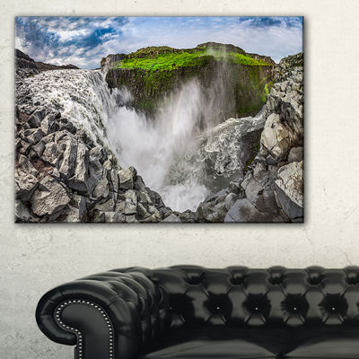 Designart Rocky Dettifoss Waterfall In Iceland Canvas Art