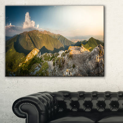 Designart Rocky Green Mountains Panorama Canvas Art