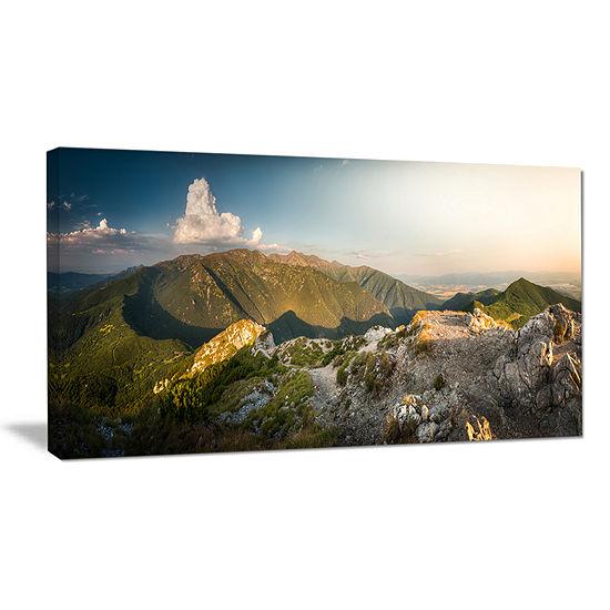 Designart Rocky Green Mountains Panorama Canvas Art
