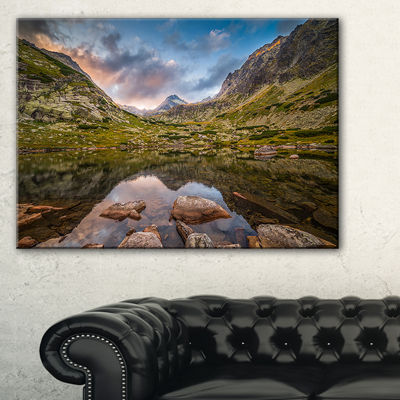 Designart Rocky Lake Above Skok Waterfall Canvas Art