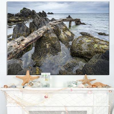 Designart Rocky North Ireland Seashore Canvas Art