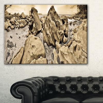 Designart Rocky Praslin Seychelles Panorama Canvas Art