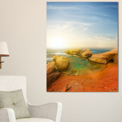 Designart Rocky Red Beach And Blue Sky Canvas Art