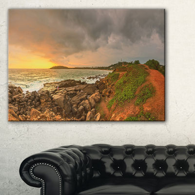 Designart Rocky Romantic Sri Lanka Beach Canvas Art