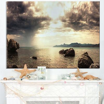 Designart Rocky Seashore Under Clouds Panorama Canvas Art