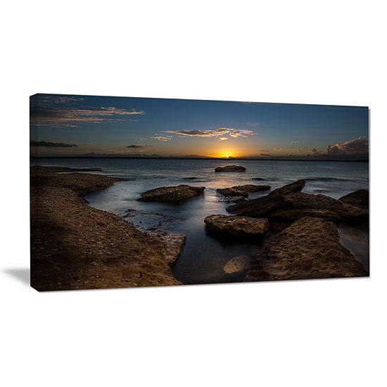 Designart Rocky Sydney Beach At Sunset Canvas Art