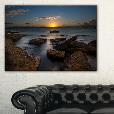 Designart Rocky Sydney Beach At Sunset Canvas Art