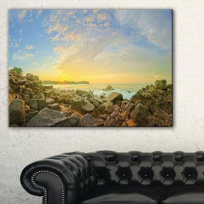 Designart Rocky Untouched Romantic Seashore Canvas Art